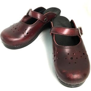 Dansko Mary Jane Cut-out Buckle Mule Clog Burgundy
